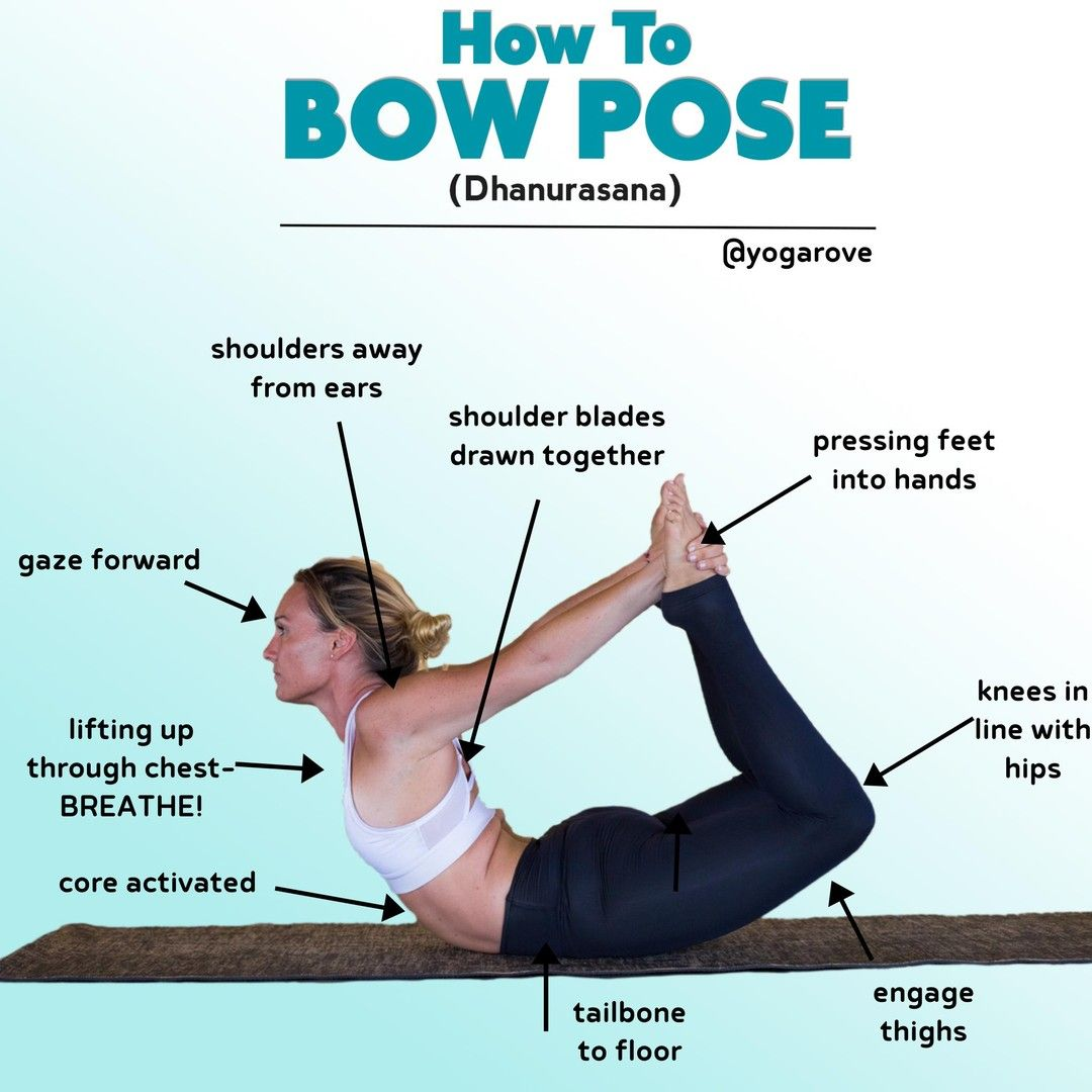 HOW TO BOW POSE/ DHANURASANA🎀  follow @yogarove follow @yogarove  Bow  pose is a DEEP chest opener a…   How to do yoga, Yoga for beginners, Yoga  poses pictures