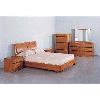 Beverly Hills Furniture Maya Platform Bed - Teak - Beds at Hayneedle ...