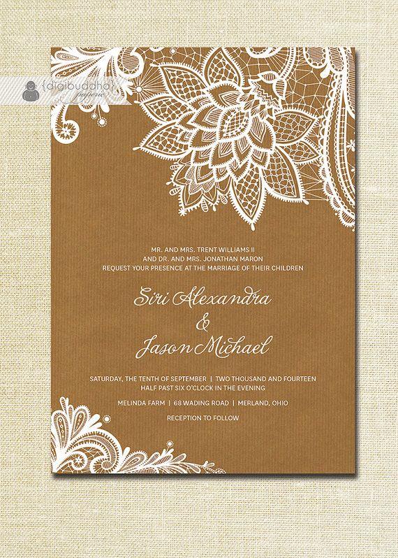 Lace Wedding Invitation Kraft Shabby Chic Rustic White Ivory Cream Brown Doily Craft Diy