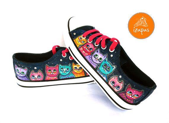 Colour Cat Painted Sneakers cat canvas