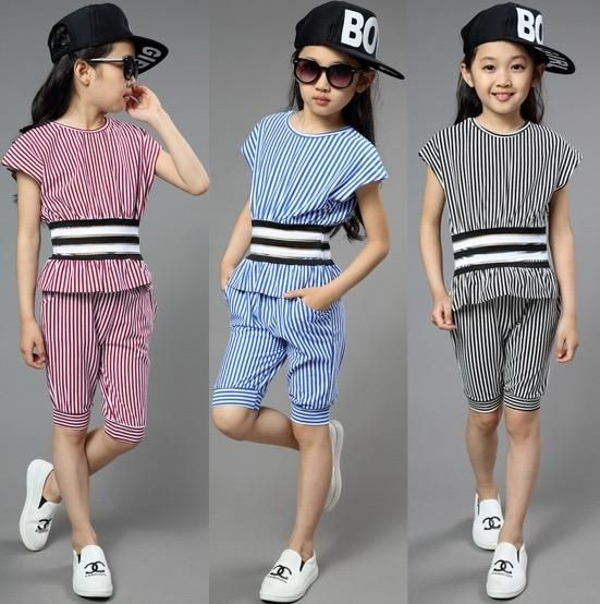 Stripes Outfits Girls Sets Cute Summer Slim Cape Sleeve Tops And Shorts Patchwork Design Children Fashion Clothing from Smartmart,$15.42 | DHgate.com