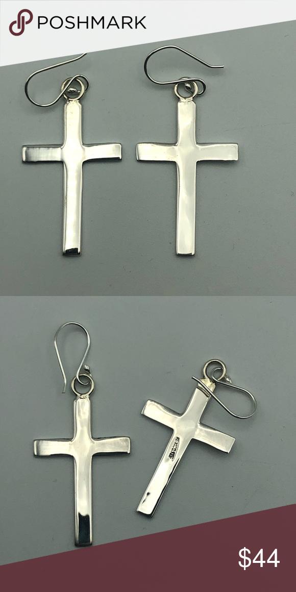 Sterling Silver Cross Earrings Taxco Mexico Silver Sterling Silver Cross Silver Cross Cross Earrings