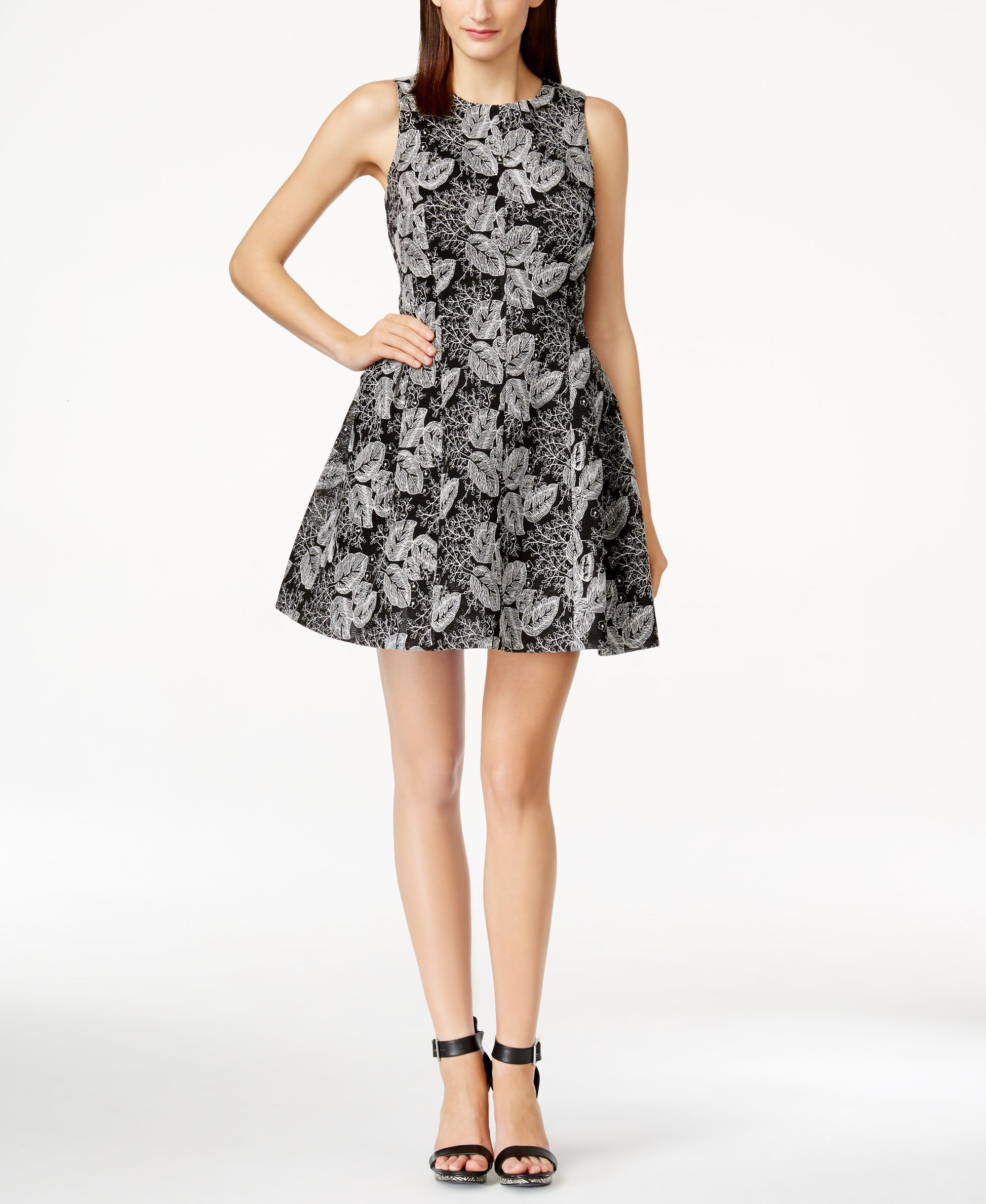 Calvin Klein Botanical Mesh Fit and Flare Dress | Flare