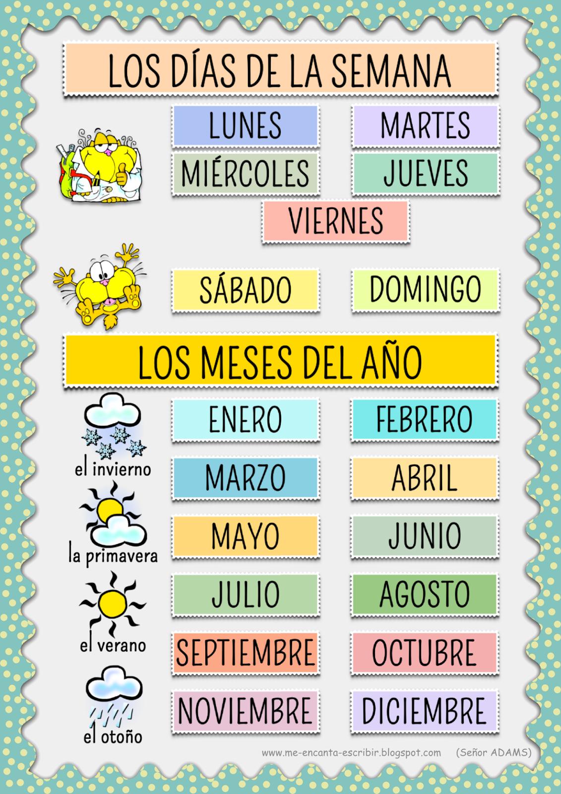 Me encanta escribir en español: Los días de la semana y los meses ...