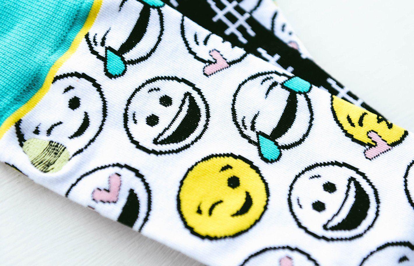 Emoji socks extra padding cute hashtag print on