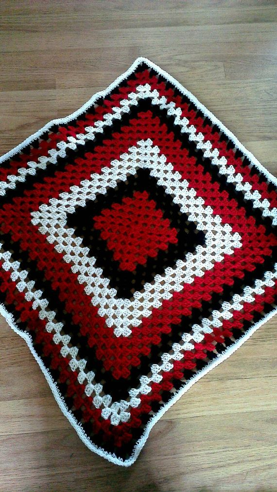 Retro Baby Blanket. Black, Red and White Granny Square Crochet ...