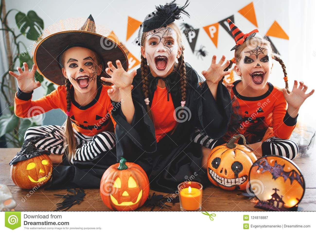 Happy Halloween A Group Of Children Celebrating Halloween Halloweencostumes Halloween Happy Halloween Cute Halloween