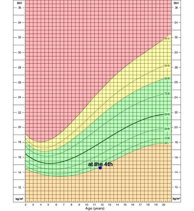 Growth chart of BMI-for-age percentile for girls, 2 to 20 years