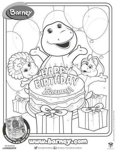 Happy Birthday Barney Printable Coloring Page | 2nd birthday party ...