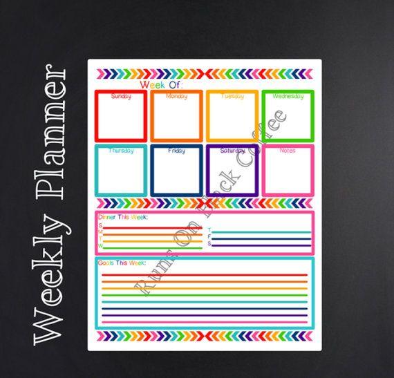 Printable Weekly Planner Calendar + Meal Menu Planner **** Chevron