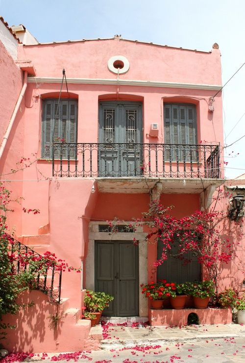 A Coral Home In Greece Pink House Exterior Pink Houses Coral House