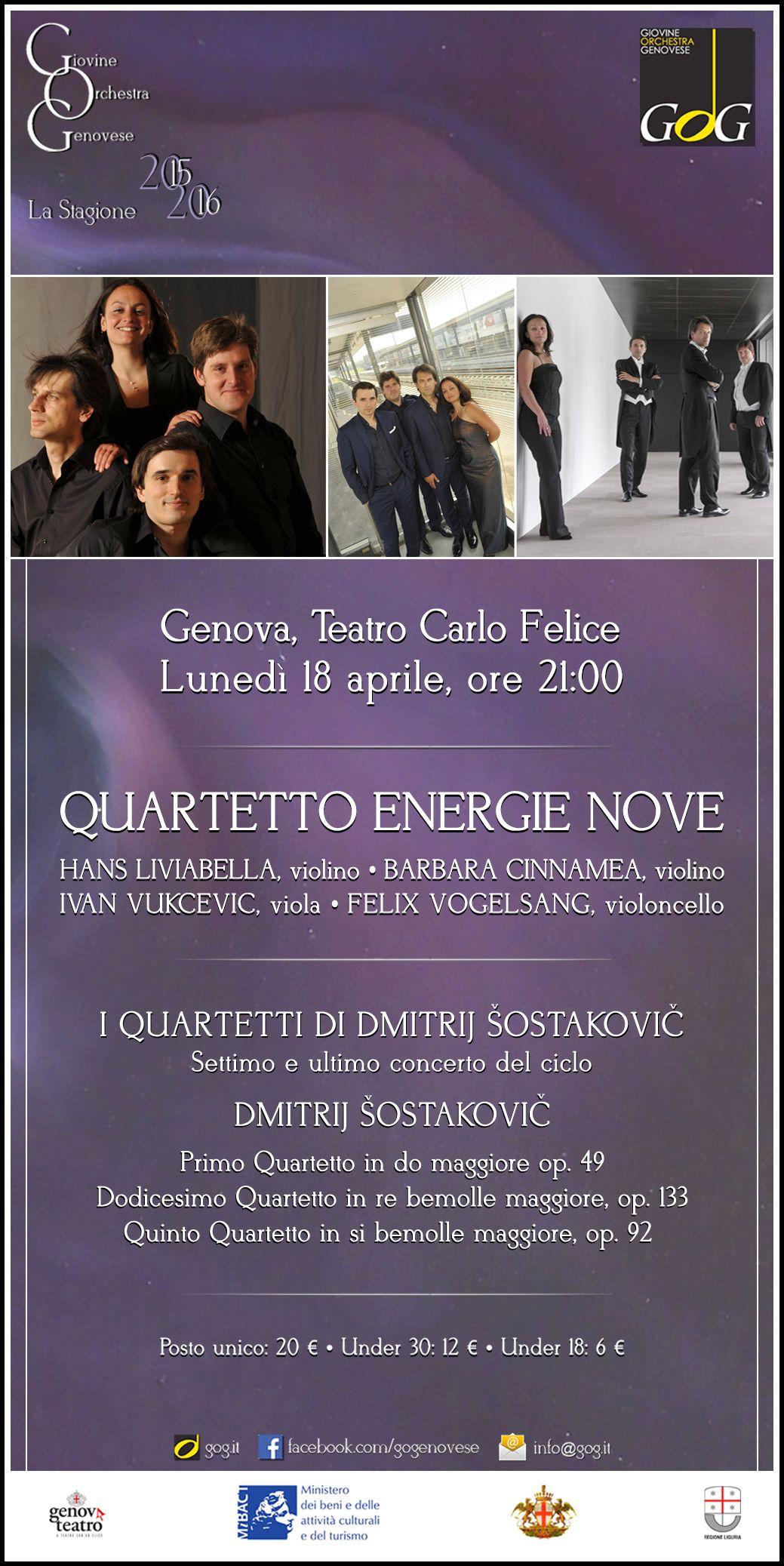 Quartetto Energie Nove | I Quartetti di Šostakovič | Lunedì 11 aprile 2016, Teatro Carlo Felice, #Genova #gog1516
