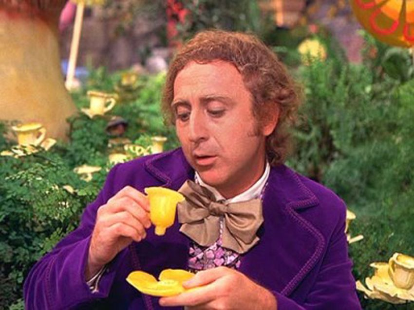 Image result for willy wonka eating cup