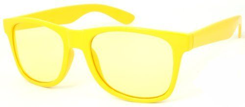 80's Vintage Wayfarer Style Plastic Frame Sunglasses with 100% UV Protection Light Yellow Clear Lens. 5401BC/CR Edge I-Wear. $5.70. Save 62% Off!