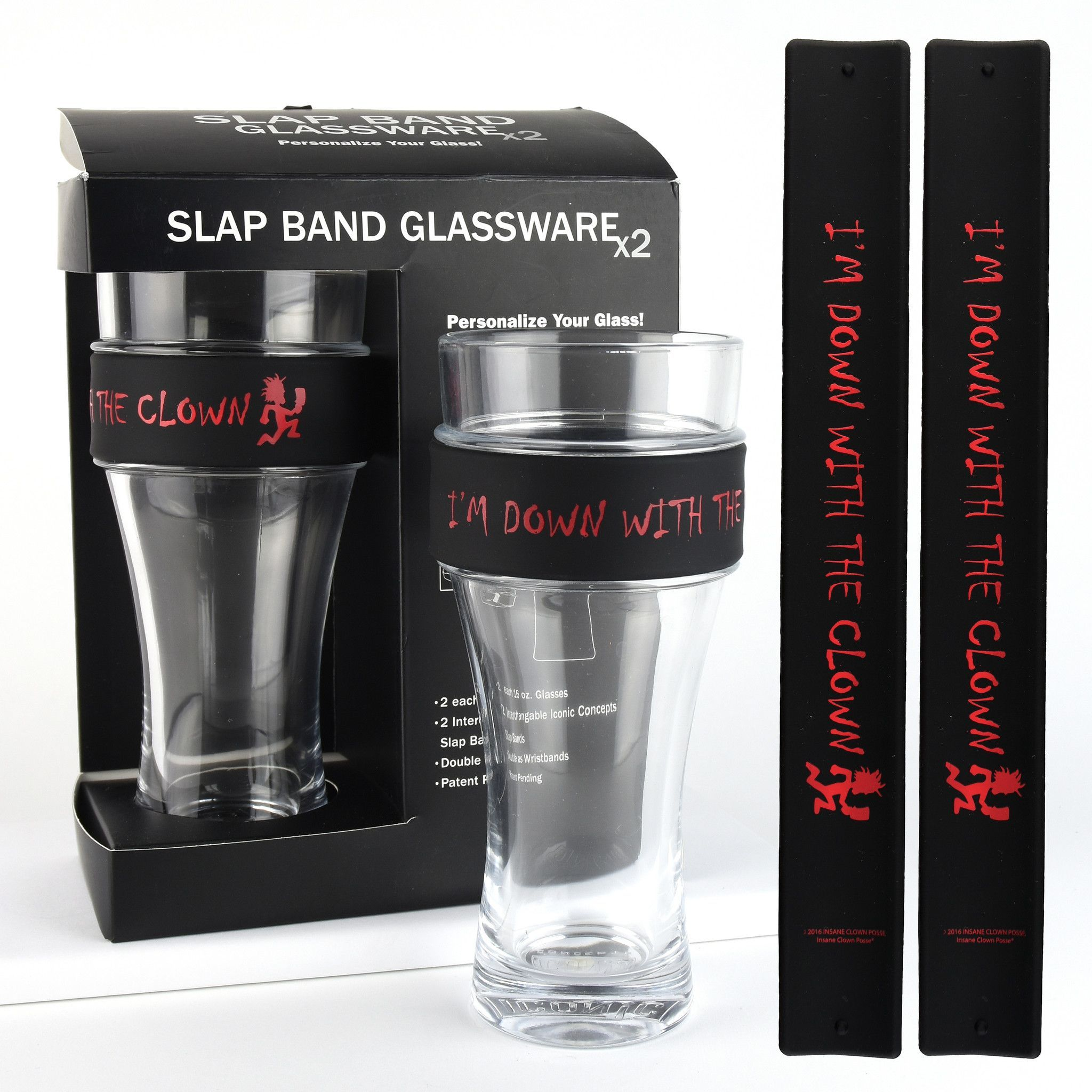 insane clown posse slap band glassware 2 pack with slap band