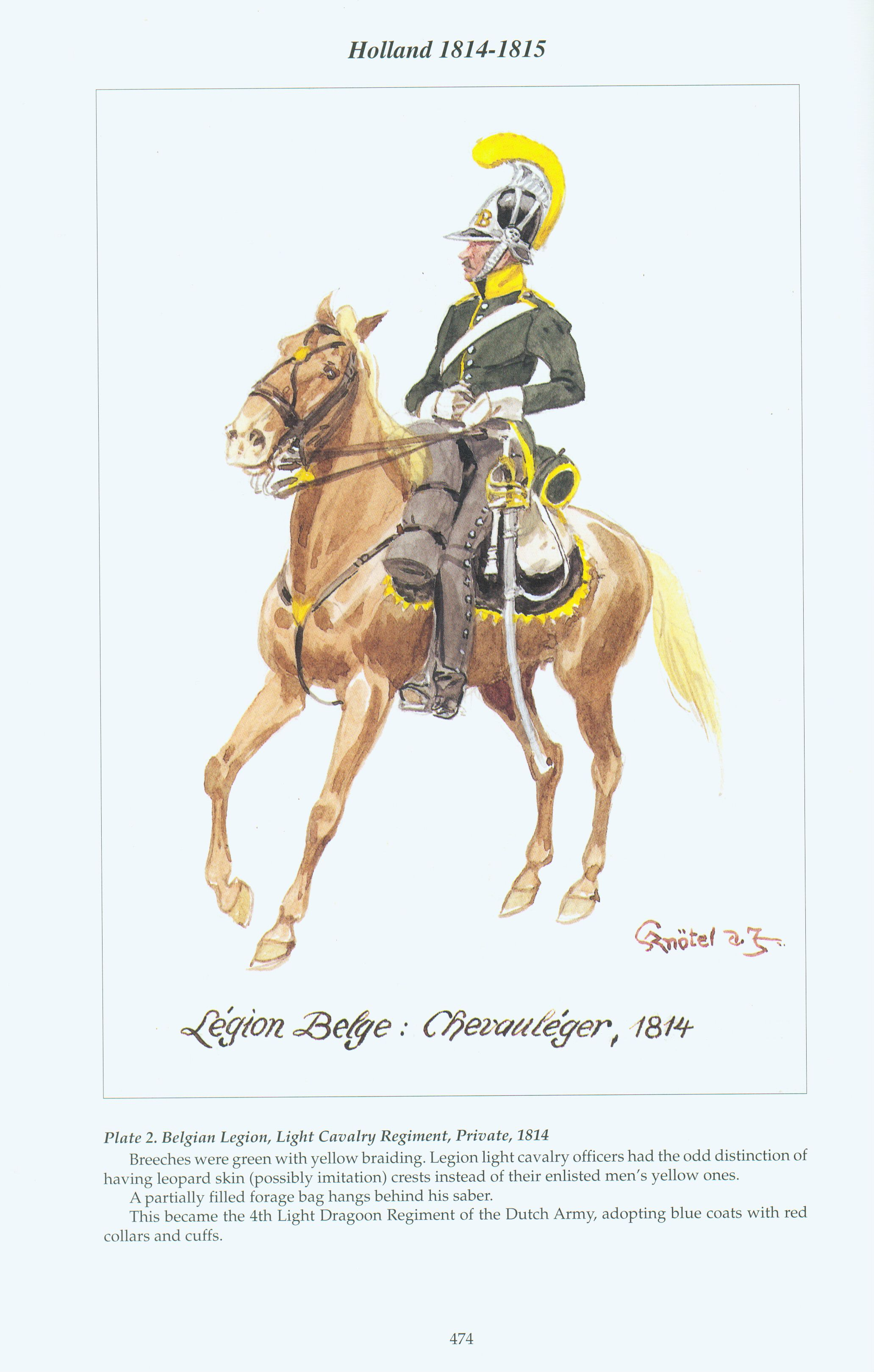 Holland Plate 2 Belgian Legion Light Cavalry Regiment Private 1814