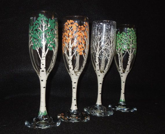 4 Seasons of the Aspen Tree Handpainted by 4SeasonsArt4You on Etsy, $45.00