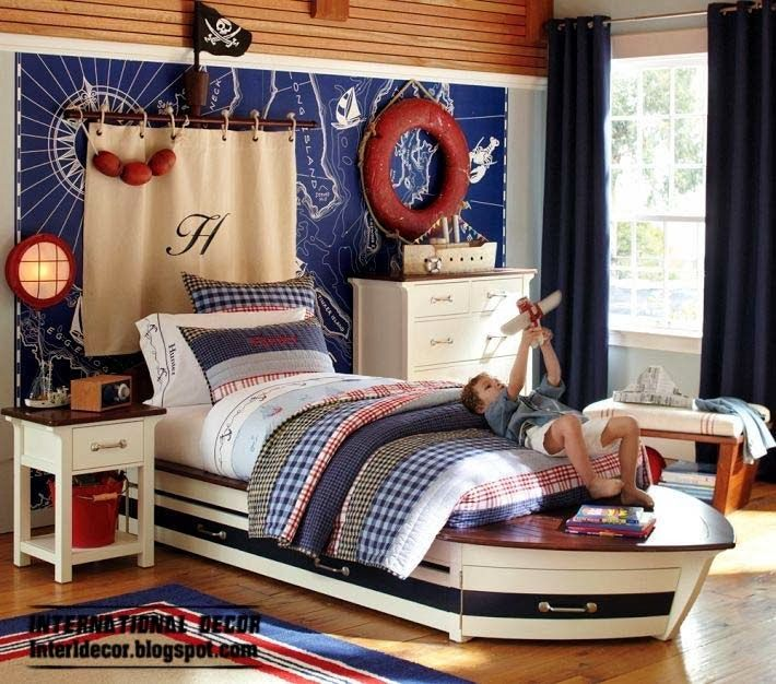Children Room Design In Marine Style And Theme Nautical Decor Bedroom Kids Bedroom Design Boys Bedrooms