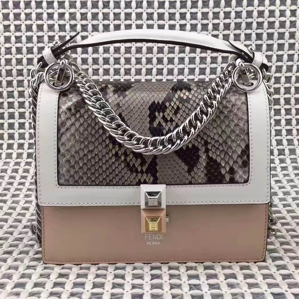 d3222fca76 Fendi Mini Kan I Bag in Multicolored Leather and Python White Pink 2017