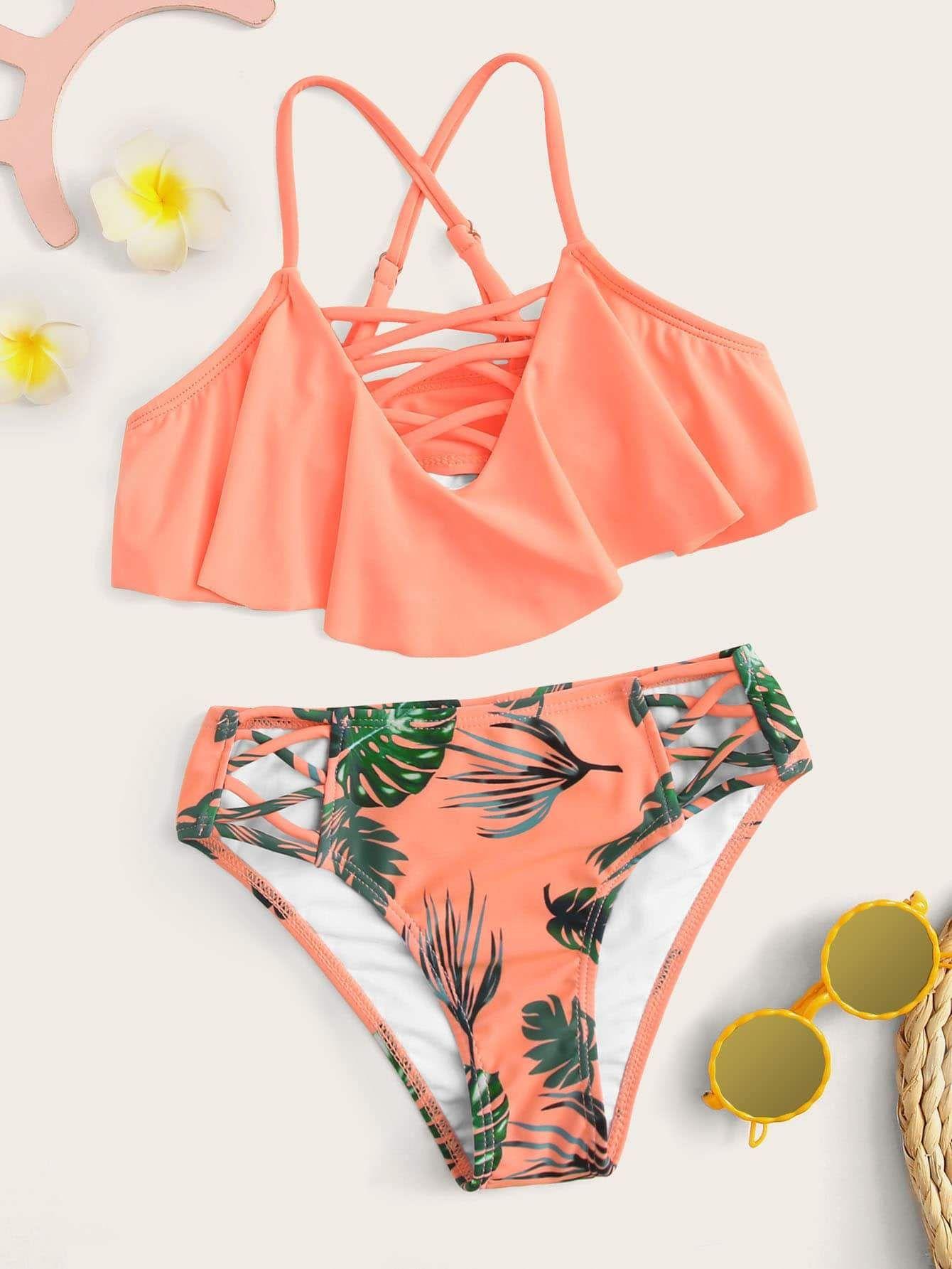 bca889a0e1 Girls Criss Cross Flounce Bikini | Popviva | Kids | Pinterest | Kids ...