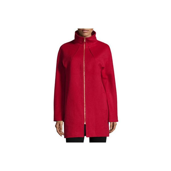 Neiman Marcus Two-Way Zip-Front Wool Jacket (2.326.965 COP) ❤ liked on Polyvore featuring outerwear, jackets, red, red jacket, fleece-lined jackets, long jacket, wool jacket and red wool jacket