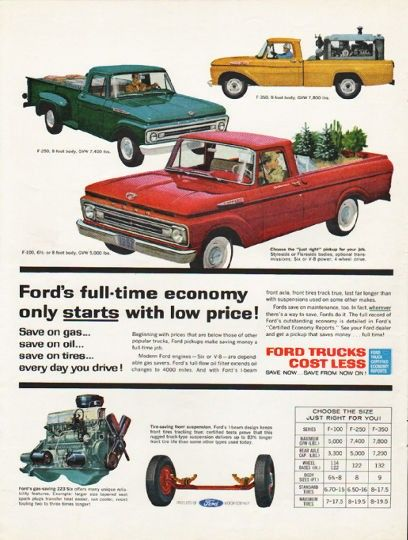 1962 Ford Trucks Vintage Ad Full Time Economy Model Year 1962