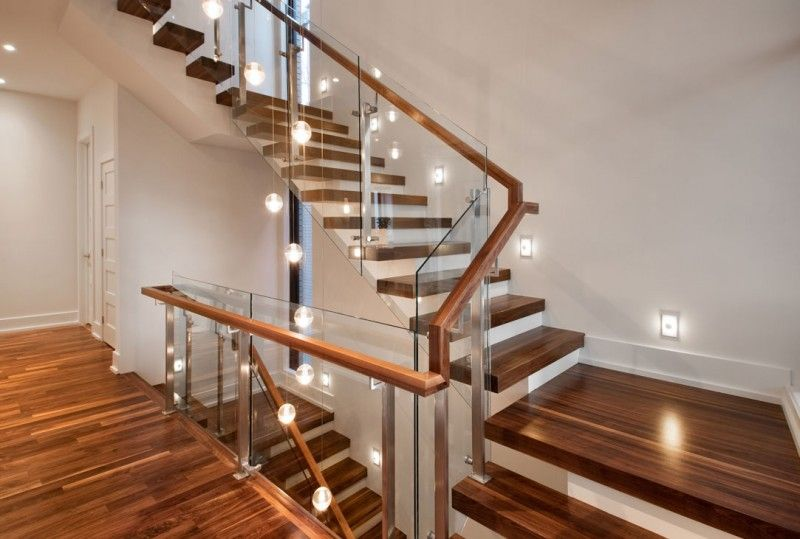 Modern Wood Stairs With Glass Risers Architecture Woden | Wooden Stairs Railing Design With Glass