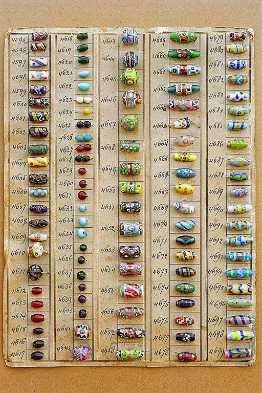 Venetian Sample Card  Vintage Beads Sample Cards