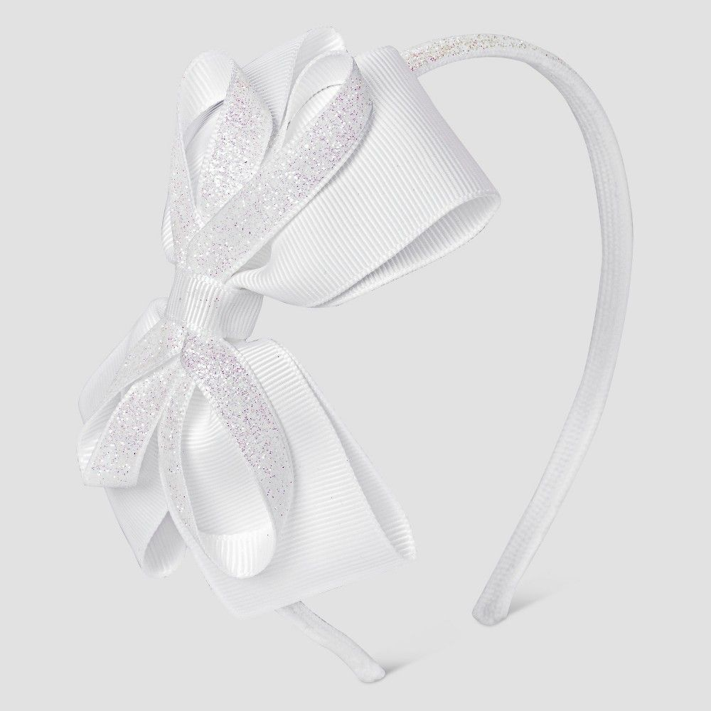 Cat & Jack Girls' Glitter Bow Headband - White, Girl's