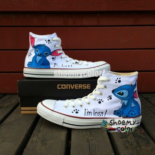 624dee8c5bc5d Stitch Converse Shoes White Hand Painted High Top Canvas Sneakers ...