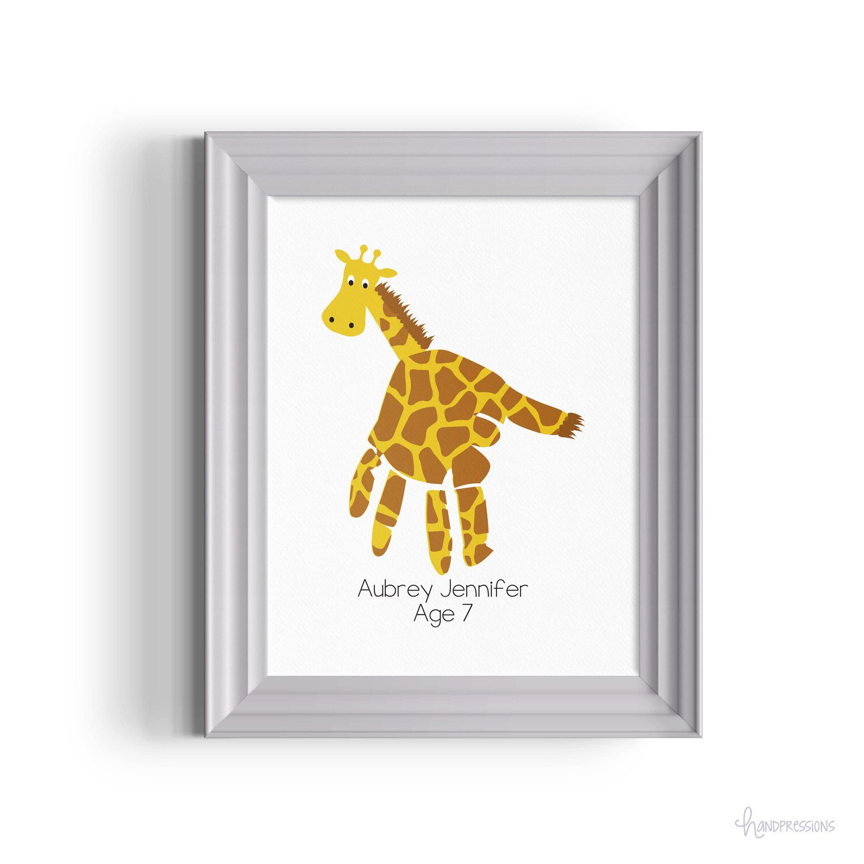 Giraffe Handprint Artwork - Home Decor - Personalized - Zoo