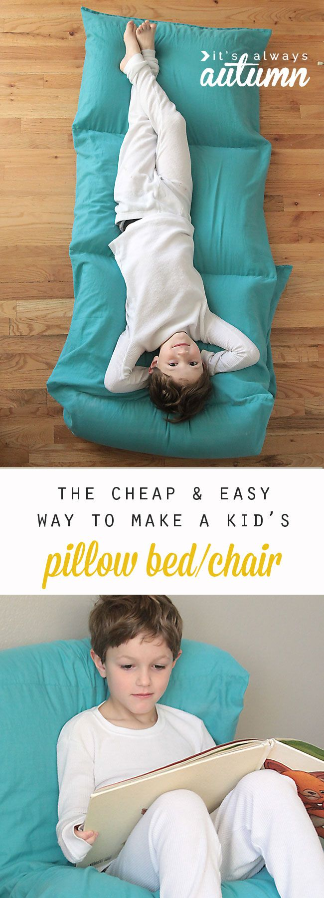 so cute! the cheapest and easiest way to make a kids' pillow bed. free sewing pattern and tutorial #itsalwaysautumn #pillowbed #portablebed #kidsbed