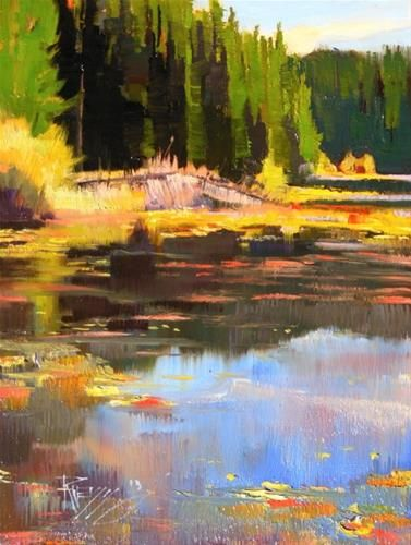 """Amazing """"Summit Lake Moran State Park plein air oil painting by Robin Weiss"""" Photos - Minimalist lake painting In 2019"""