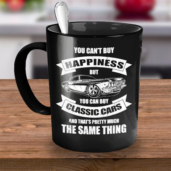 Classic Cars Coffee Mug Black 15oz Ceramic Cup, Vehicles, Automobiles, Vintage Car, Classic Car Gift, Gift for Antique Car Owners
