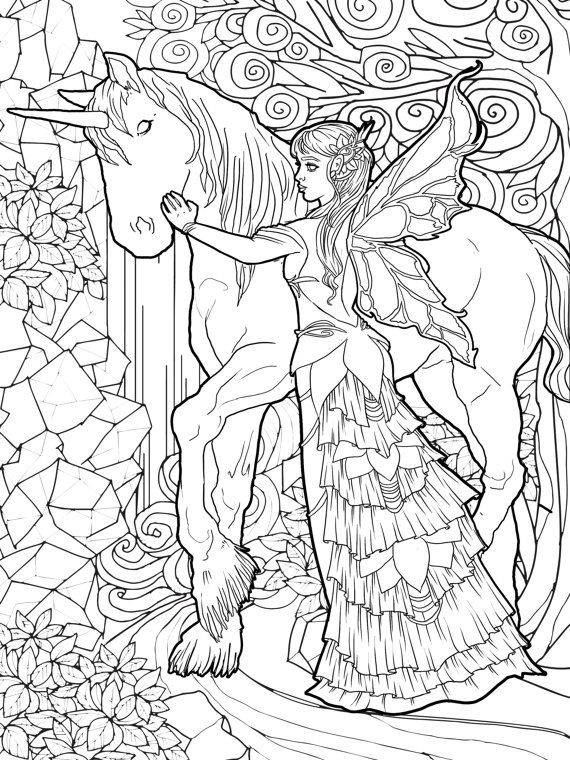 Magical Unicorns And Fairies Adult Coloring Book Unicorn