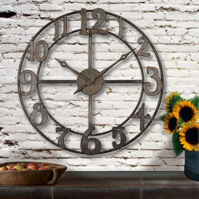 Rustic Oversized Wall Clocks Clock Love The Open Back Numbers Instead Of Roman Numerals