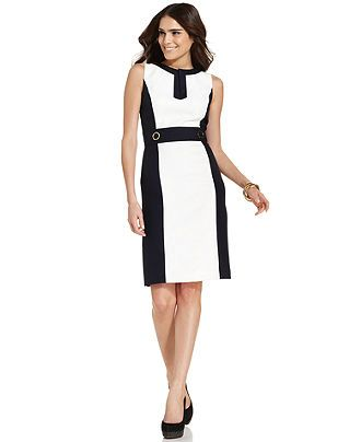 a36907dfd Tahari by ASL Dress, Sleeveless Colorblocked Sheath - Womens Dresses -  Macy's