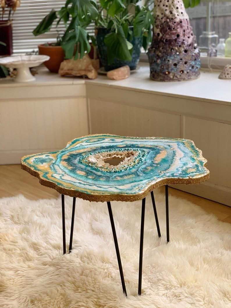 custom crystal coffee table geode side table small boho chic decor statement piece boho on boho chic kitchen table decor id=70194