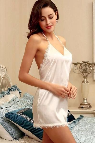 ... quite nice 45a92 fa7b4 Sexy Robe Women Nightwear Mini Nightgowns Deep V- neck and Backless ... e12e11480