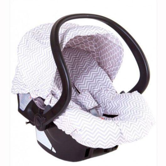 Capa Para Bebê Conforto Dupla Face – Chevron Cinza E Colméia