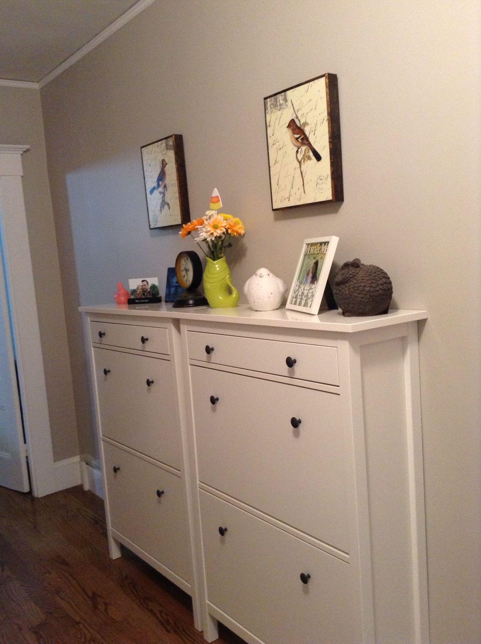 White ikea shoe cabinets new house pinterest ikea for Ikea hemnes shoe cabinet hack
