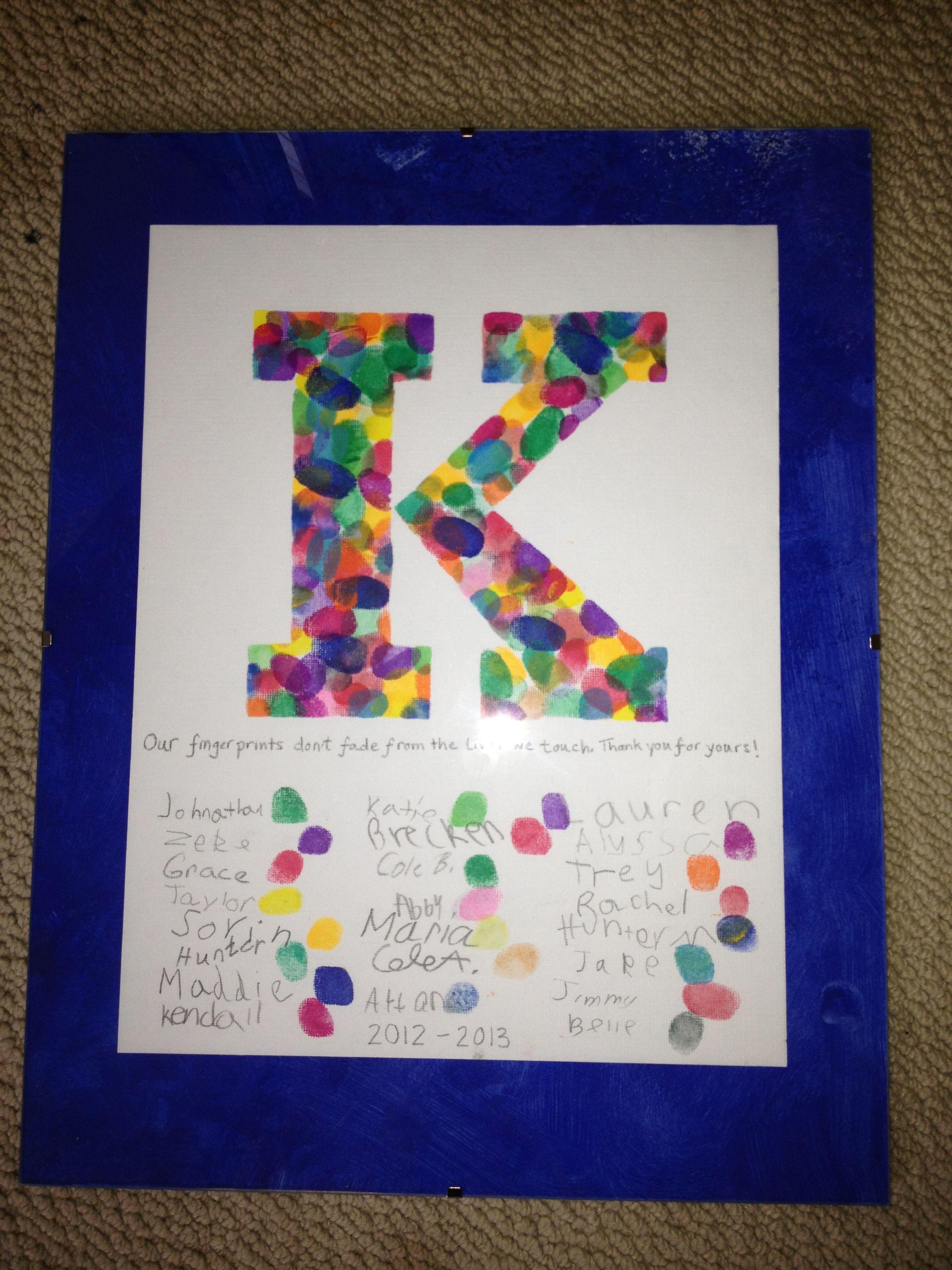 Fingerprint letter as teacher gift... Our fingerprints don