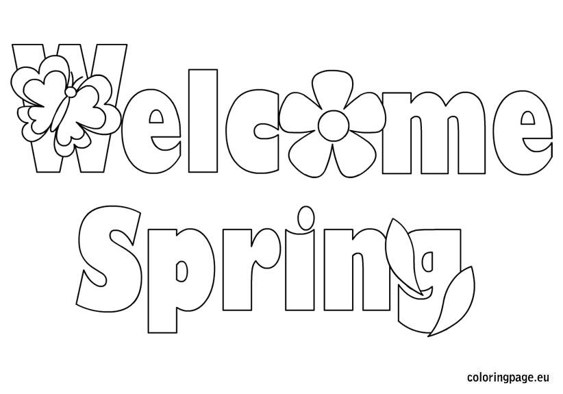 greeting cards welcome spring day coloring picture for kids - Spring Coloring Pages Printable