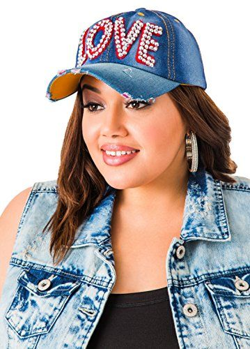 Womens Plus Size LOVE Denim Baseball Cap  3c220376a25