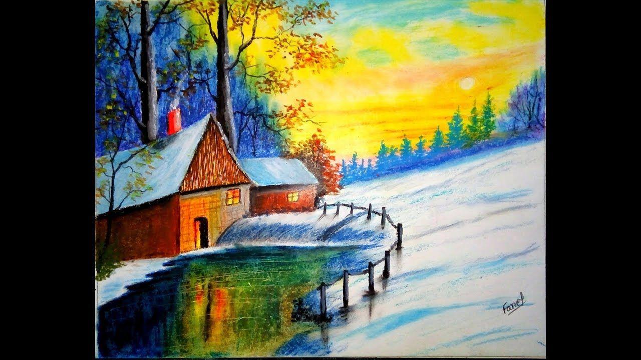 Oil Pastel Drawings For Beginners Winter Drawing Drawing With Oil Pa Oil Pastel Landscape Winter Drawings Oil Pastel Drawings