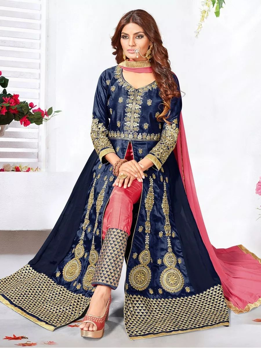 330eb682b6 Sapphire Blue Art Silk And Faux Georgette Festival Embroidered Anarkali  Kameez