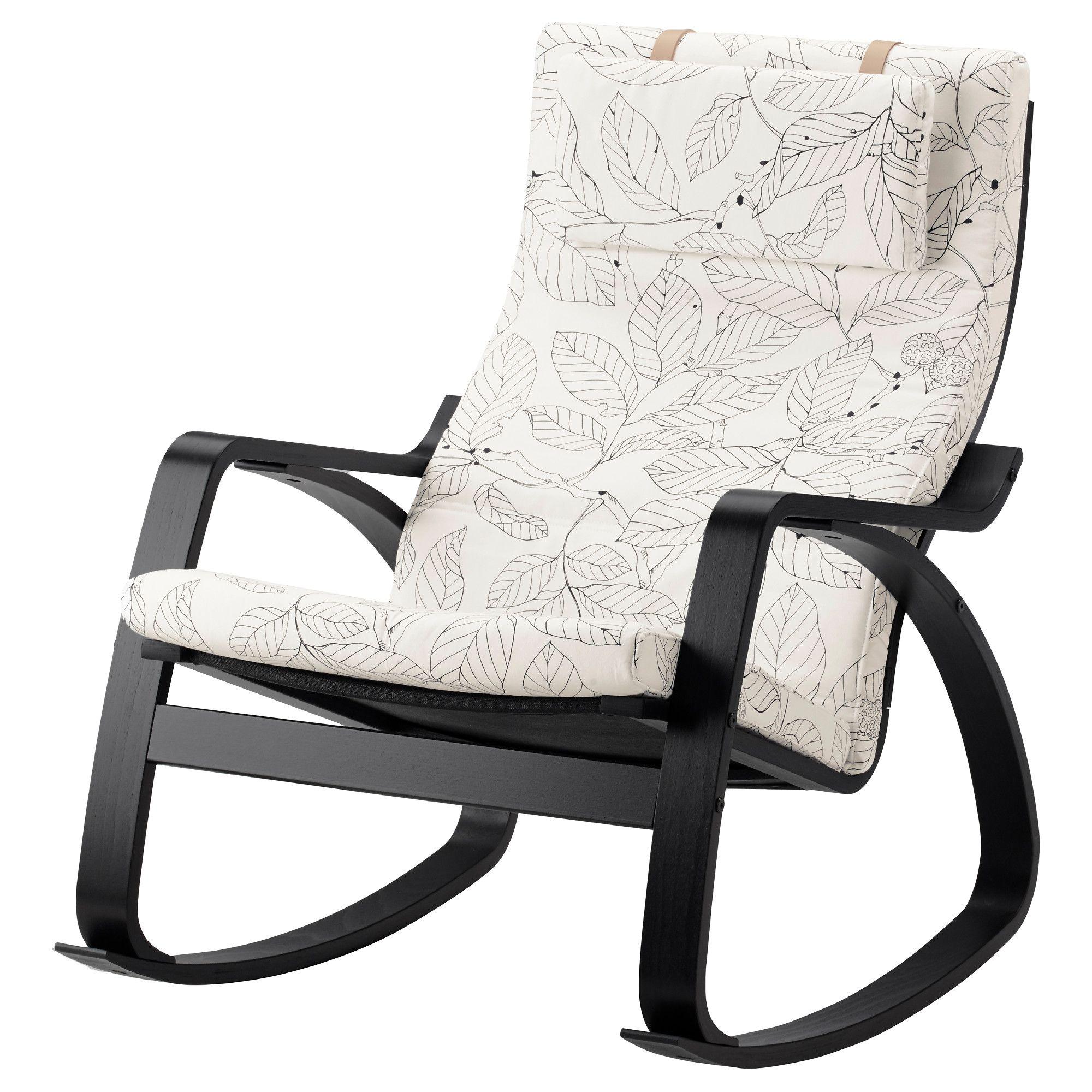 Ikea Poäng Rocking Chair Black Brown Vislanda Blackwhite
