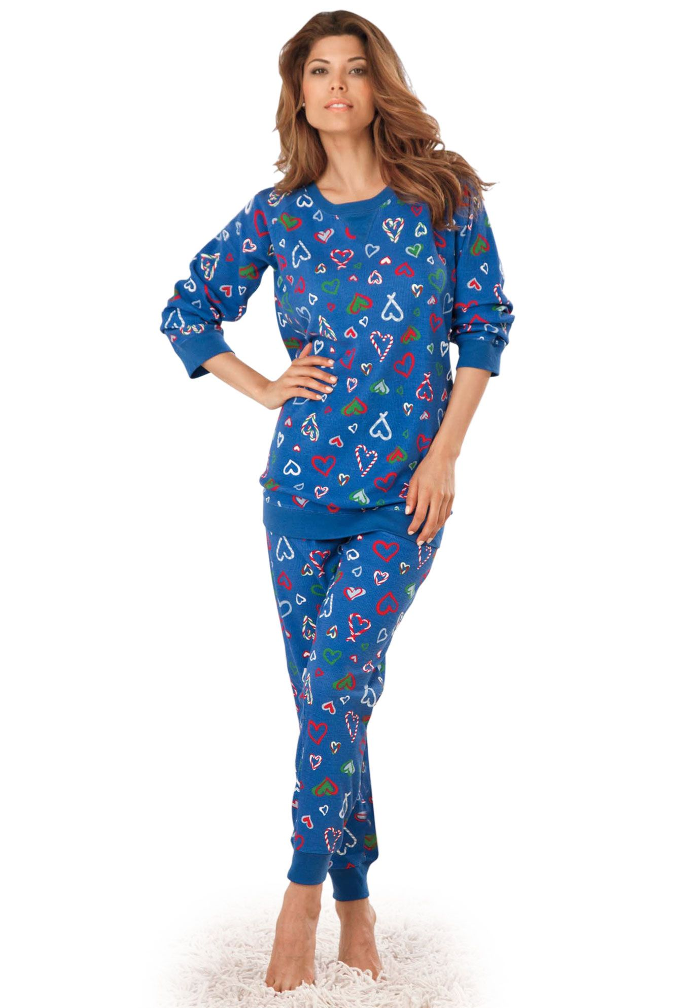Pajama Sleep Set In Thermal Knit By Dreams Co Plus Size Just Reduced Woman Within Clothes Loungewear Outfits Plus Size Sleepwear