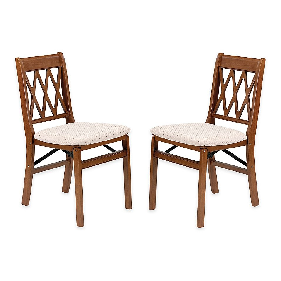 Stakmore Lattice Back Wood Folding Chairs In Fruitwood