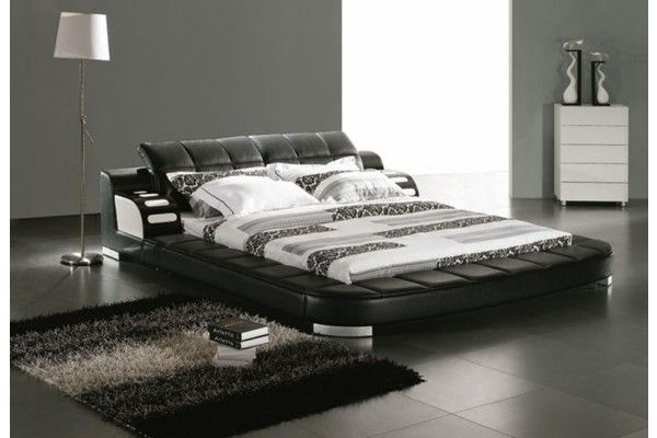 Modern Black Leather Platform Bed